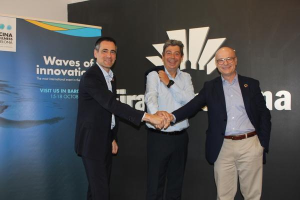De izq a dra: Ángel Celorrio (director Piscina& Wellness Barcelona), Eloi Planes (presidente Piscina & Wellness Barcelona) y Pedro Arrebola (ASOFAP)