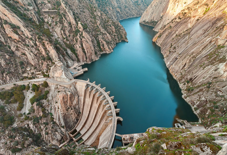 Aldeadavila Dam is a concrete arch-gravity dam on the Douro River on the border between Spain and Portugal.